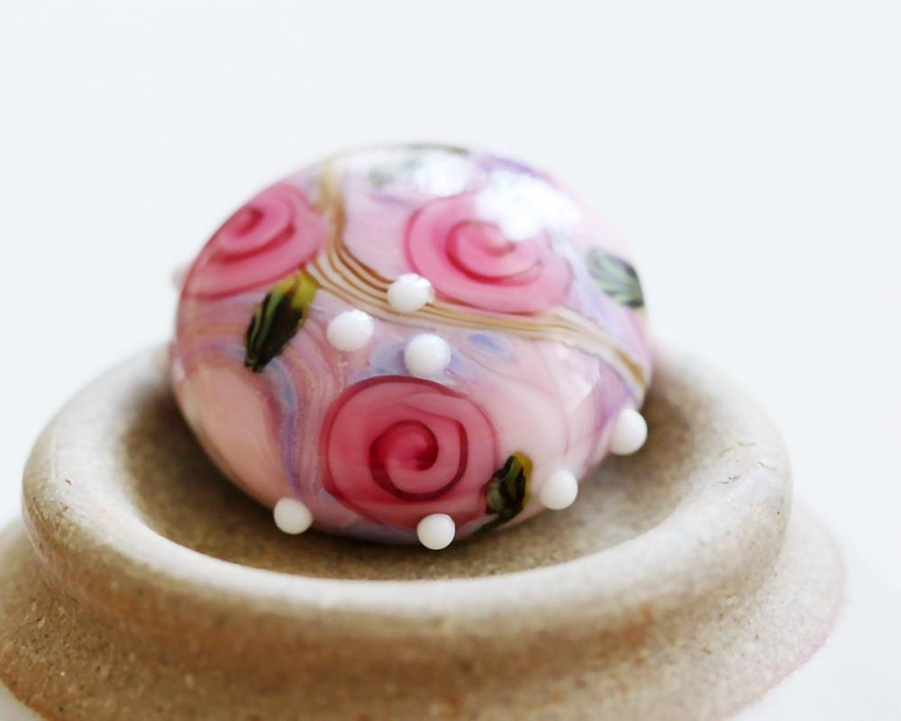 Country Roses III SRA Lampwork Focal
