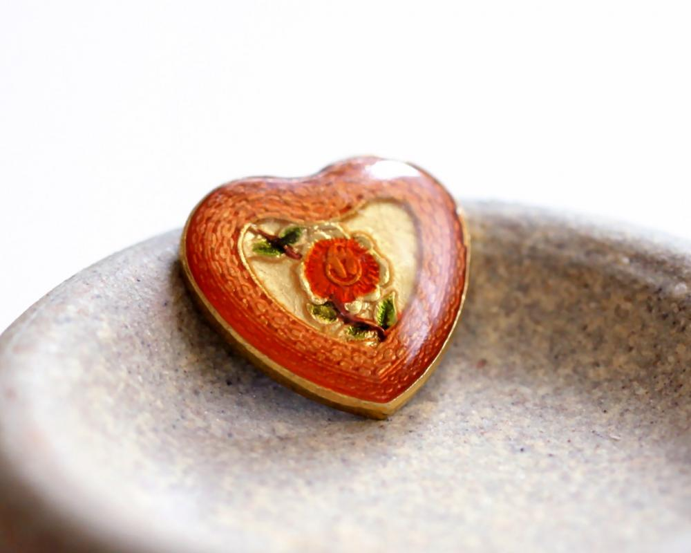 Vintage Enameled Metal Heart Shaped Cabochons
