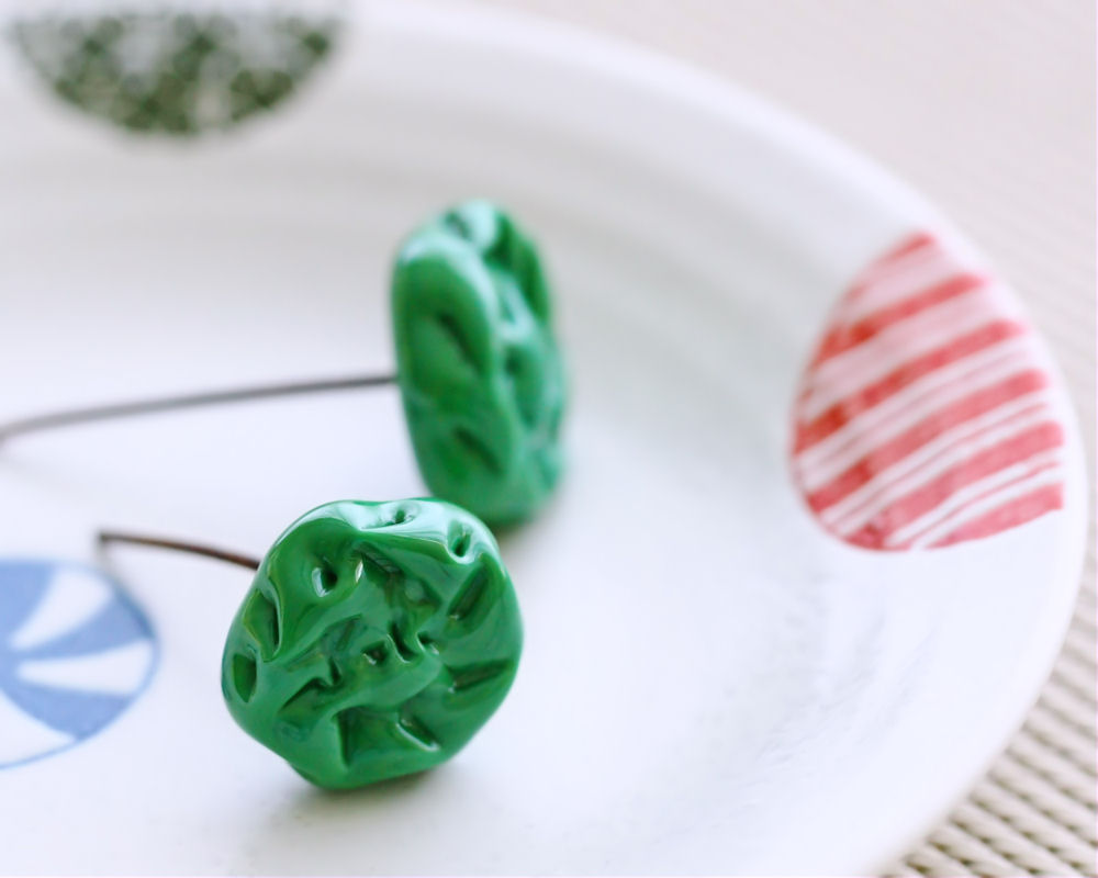 Vintage Miriam Haskell Green Textured Art Glass Headpins