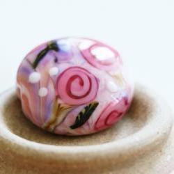 Country Roses II SRA Lampwork Focal Bead