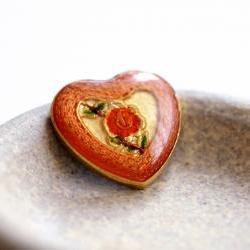 Vintage Enameled Metal Heart Shaped Cabochons