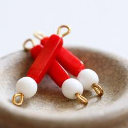 Vintage Red White with Brass Loops Connector Glass Beads