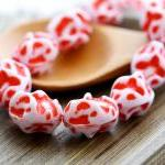 Vintage Red White Disco Meteorite Plastic Beads