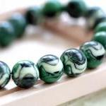 Vintage Green Black Cream Swirled Round Lucite Beads