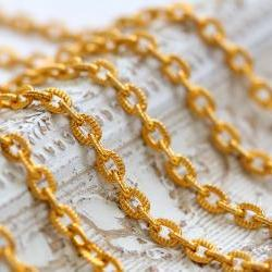 Vintage Gold Plated Textured Cable Chain