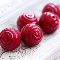 Vintage Swirl Round Wine Red Acrylic Beads - last lot