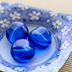 Vintage Sapphire Blue Nugget Round Acrylic Beads