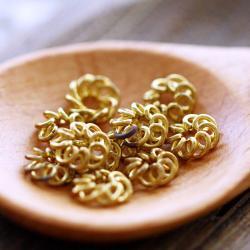Vintage Aged Brass Fligree Flower Beads