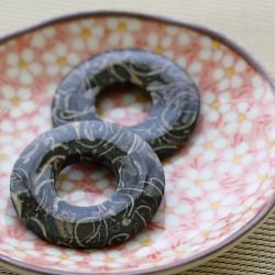 Vintage Polished Stone Donuts Beads