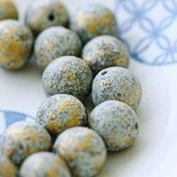 Vintage Aqua Gold Textured Plastic Beads
